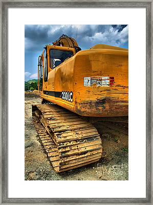 Construction Excavator In Hdr 1 Framed Print by Amy Cicconi
