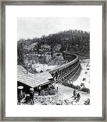 Construction Of Central Pacific Framed Print