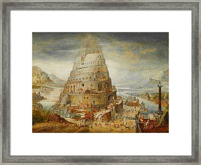 Construction Of The Tower Of Babel Framed Print by Abel Grimmer