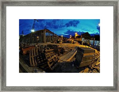 Construction Site At Night Framed Print by Jaroslaw Grudzinski