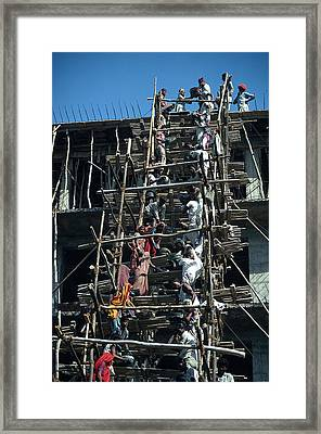 Construction Site In India Framed Print by Carl Purcell