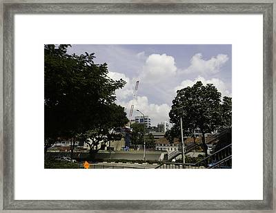 Construction Work Ongoing In Singapore Framed Print by Ashish Agarwal