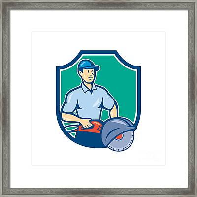 Construction Worker Concrete Saw Consaw Cartoon Framed Print by Aloysius Patrimonio