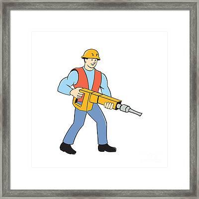 Construction Worker Holding Jackhammer Cartoon Framed Print by Aloysius Patrimonio