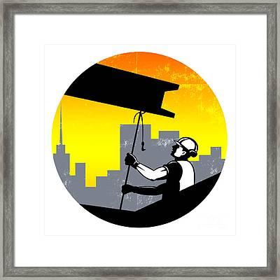 Construction Worker I-beam Girder Retro Framed Print by Aloysius Patrimonio