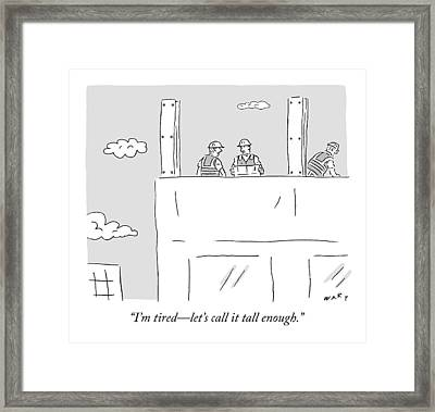 Construction Workers At The Top Of A Building Framed Print