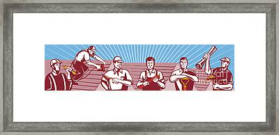 Construction Workers Tradesman Retro Framed Print