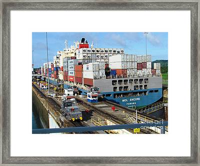 Container Ship Framed Print by Ted Pollard
