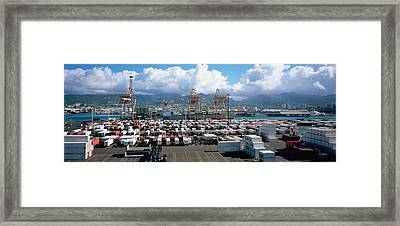 Containers And Cranes At A Harbor Framed Print