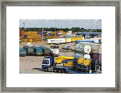 Containers On The Dockside In Hull Framed Print by Ashley Cooper