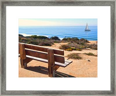 Contemplation Bench At The Oceans Edge Framed Print