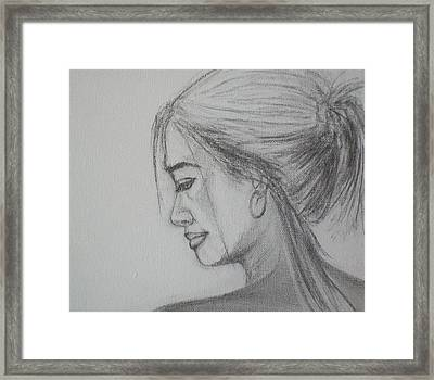 Framed Print featuring the drawing Contemplation by Jane  See