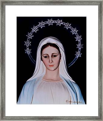 Contemplative Our Lady Queen Of Peace  Framed Print by Susan Duda