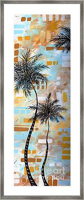 Contemporary Abstract Tropical Palm Tree Painting Colorful And Fun By Megan Duncanson Framed Print by Megan Duncanson