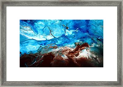 Contemporary Blue Abstract Art Fluid Painting-rapid By Kredart Framed Print