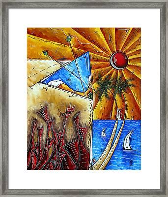 Contemporary Coastal Nautical Tropical Martin Art Original Sailboat Painting Ocean View By Madart Framed Print by Megan Duncanson