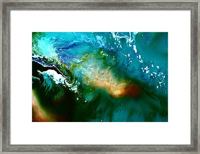 Contemporary Fluid Abstract Art Underwater Soundwaves Framed Print by Serg Wiaderny