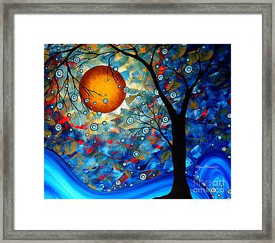 Contemporary Modern Art Original Abstract Landscape Painting Blue Essence By Megan Duncanson Framed Print