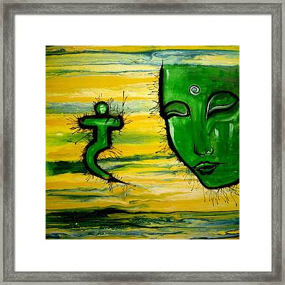 Contemporary Original Yellow 3rd Chakra Manipura Framed Print