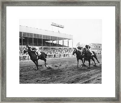 Continuous Count Vintage Horse Racing Framed Print