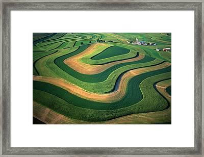 Contour Farm Art Aerial  Framed Print by Blair Seitz