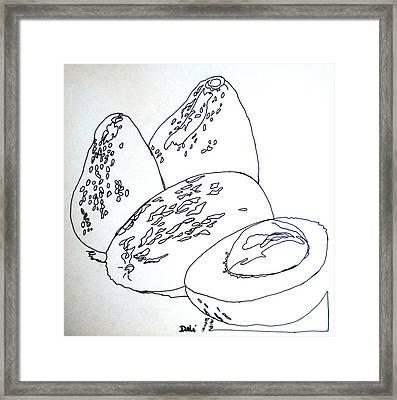 Contour Line Avocados Framed Print by Debi Starr