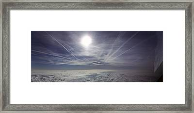 Contrail Panorama Framed Print by Greg Reed