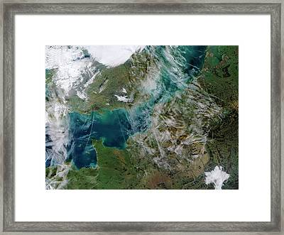 Contrails Over The English Channel Framed Print