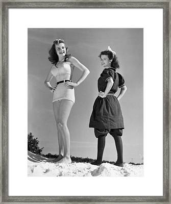 Contrast In Bathing Suit Style Framed Print by Underwood Archives