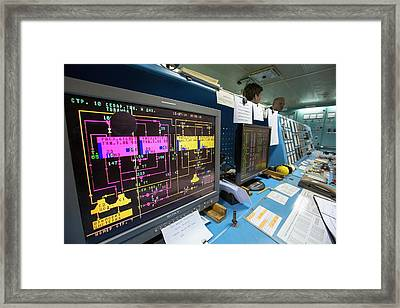 Control Room On Russian Research Vessel Framed Print by Ashley Cooper