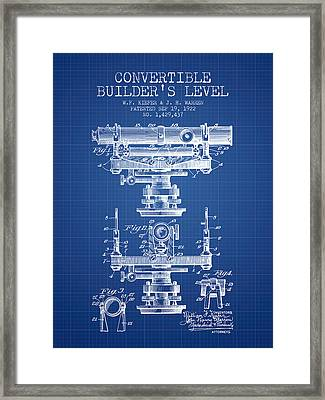 Convertible Builders Level Patent From 1922 -  Blueprint Framed Print