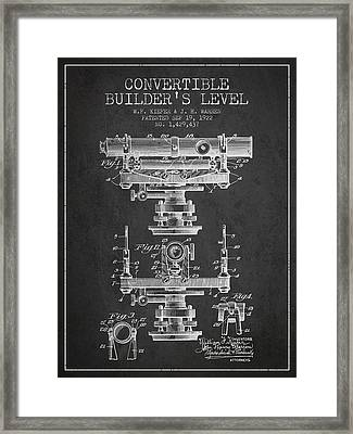 Convertible Builders Level Patent From 1922 -  Charcoal Framed Print