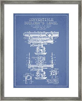 Convertible Builders Level Patent From 1922 -  Light Blue Framed Print