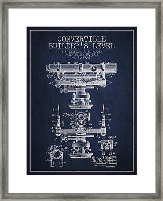 Convertible Builders Level Patent From 1922 -  Navy Blue Framed Print by Aged Pixel