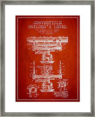Convertible Builders Level Patent From 1922 -  Red Framed Print by Aged Pixel