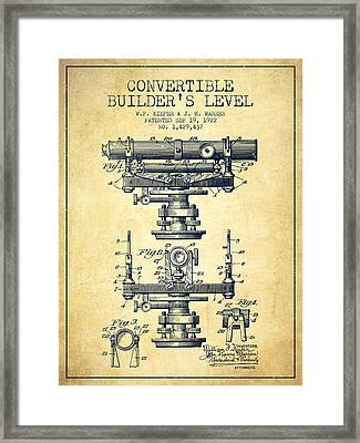 Convertible Builders Level Patent From 1922 -  Vintage Framed Print by Aged Pixel