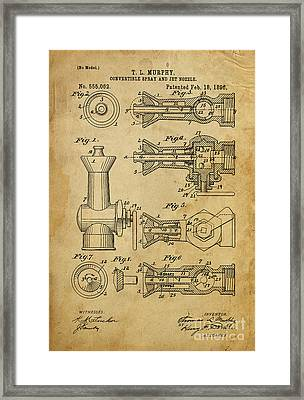 Convertible Spray And Jet Nozzle - Year 1896 Framed Print