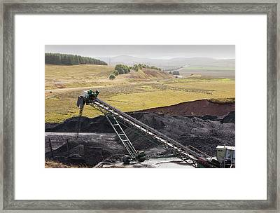 Conveyor With Coal From Opencast Mine Framed Print