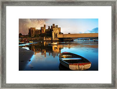 Conwy Castle Reflection Framed Print by Mal Bray