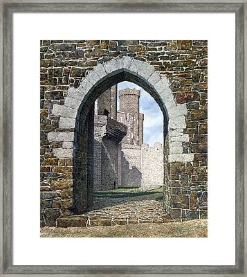Framed Print featuring the painting Conwy Gate by Tom Wooldridge