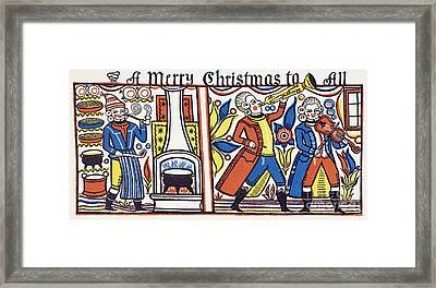 Cook And Musicians 1818 Framed Print by Granger