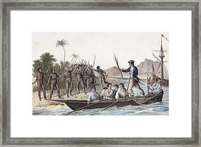 Cook Landing In The New Hebrides Framed Print by Paul D Stewart