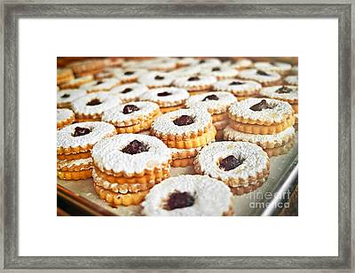 Cookies On Baking Tray Framed Print by Elena Elisseeva