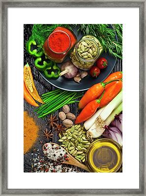 Cooking And Seasoning Ingredients Framed Print by Fcafotodigital