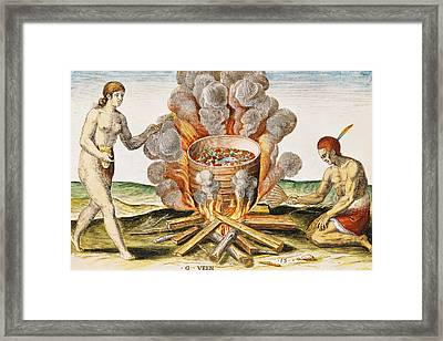 Cooking Food In A Terracotta Pot, From Admiranda Narratio... , Engraved By Gysbert Van Veen Framed Print by John White