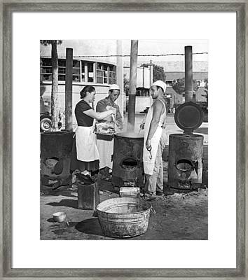 Cooking Pasta In Cinecitta Framed Print by Underwood Archives