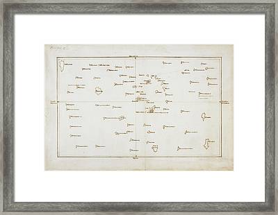 Cook's Map Of The Society Islands Framed Print
