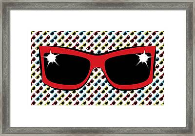 Cool 90's Sunglasses Red Framed Print by MM Anderson