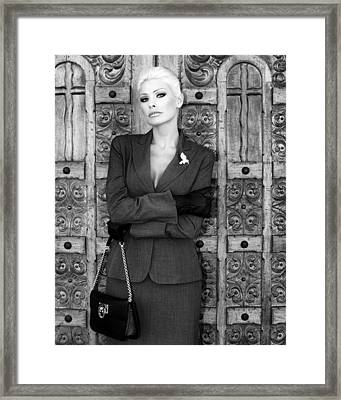 Cool Blonde Bw Palm Springs Framed Print