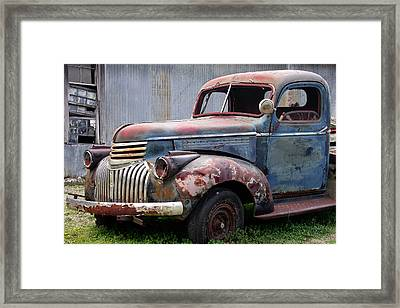 Framed Print featuring the photograph Cool Blue Chevy by Steven Bateson